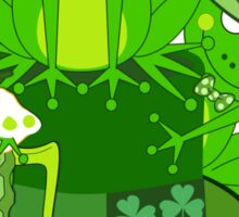 Funny St Patrick's day frogs, shamrocks, beer & text Sticker