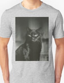 Portrait of black cat square black and white analogue medium format film Hasselblad  photograph T-Shirt