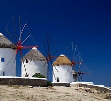 Mykonos windmills, Greece by Andrew Conn