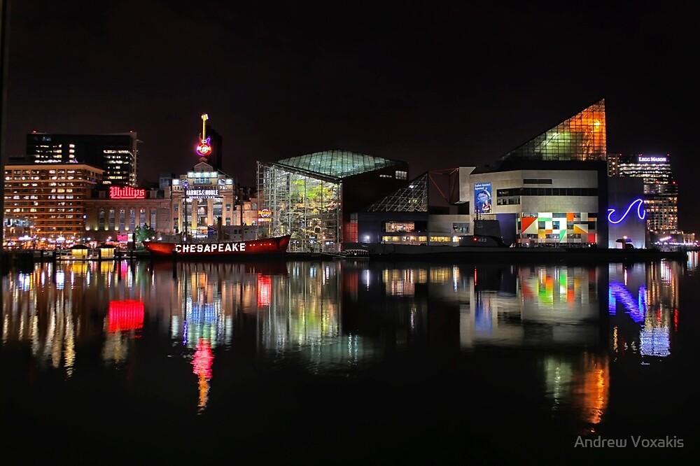 Inner Harbor in Baltimore, Maryland at Night by Andrew Vox