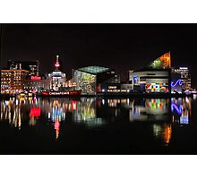 Inner Harbor in Baltimore, Maryland at Night Photographic Print