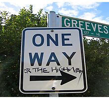 One way or the highway Photographic Print
