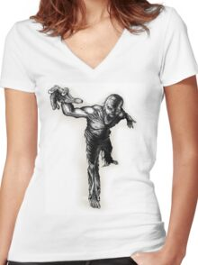 Reaching Zombie Women's Fitted V-Neck T-Shirt