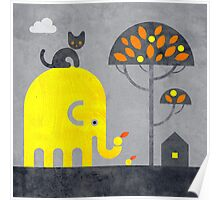 Elephant and Cat Poster