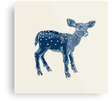 Dear Deer Indigo on Vanilla Metal Print