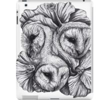 Compass - Barn Owls and Hibiscus Flowers iPad Case/Skin