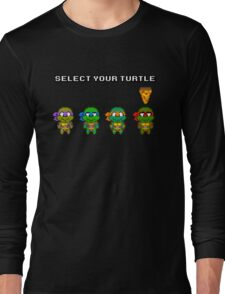 Select Your Turtle (Raphael) - TMNT Pixel Art Long Sleeve T-Shirt