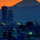 Mount Fuji at sunset; Omori, Shinagawa-ku, Tokyo by Alfie Goodrich