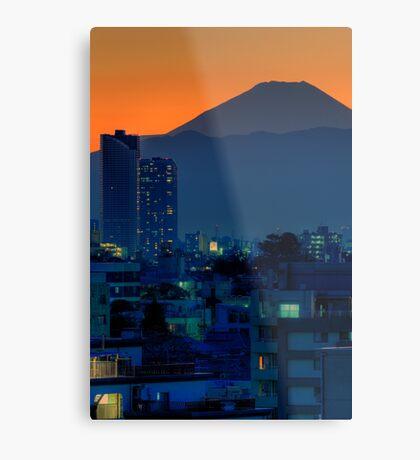 Mount Fuji at sunset; Omori, Shinagawa-ku, Tokyo Metal Print