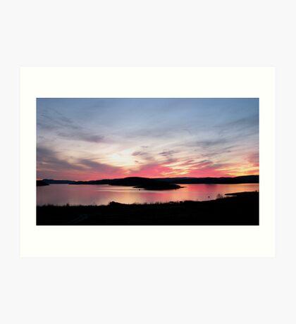 sunset over Skin Island, Marathon Ontario on Lake Superior Art Print