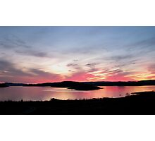 sunset over Skin Island, Marathon Ontario on Lake Superior Photographic Print