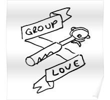 Group Love - Free Draw - Black and White Edition - Back Panel Poster