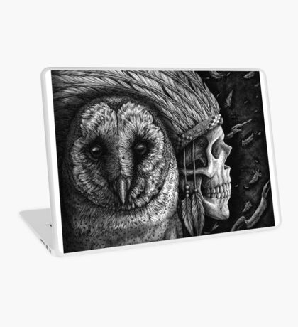 Salvation Upon Us - Barn Owl and Native American Skull Laptop Skin