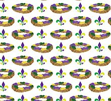 King Cake and Fleur de Lis Pattern by StudioBlack
