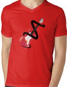 Black Guitar snake Mens V-Neck T-Shirt