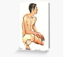 Boy crouching  Greeting Card