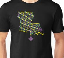 Louisiana State Wrapped in Mardi Gras Beads 2 Unisex T-Shirt