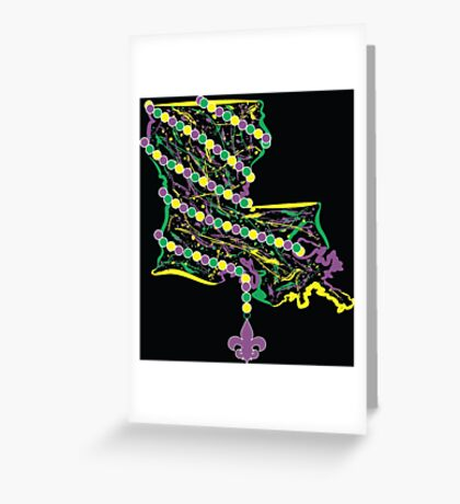 Louisiana State Wrapped in Mardi Gras Beads 2 Greeting Card