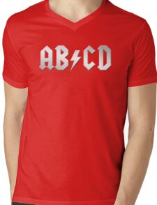 AB/CD (white on black) Mens V-Neck T-Shirt