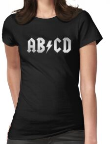 AB/CD (white on black) Womens Fitted T-Shirt