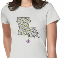 Louisiana State Wrapped in Mardi Gras Beads Womens Fitted T-Shirt