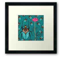 bugs and flower blue Framed Print