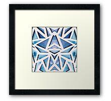 Blue Geo Paper Cut Framed Print