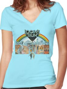 Logan's run Women's Fitted V-Neck T-Shirt