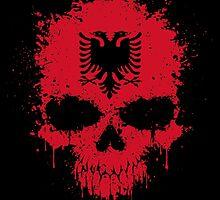 Chaotic Albanian Flag Splatter Skull by Jeff Bartels