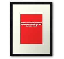 Pee-Wee Herman - Obviously The Person Who Stole it - White Font Framed Print