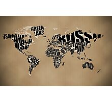 Typographic World Map Photographic Print