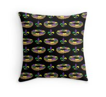 King Cake and Fleur de Lis Pattern (Black) Throw Pillow