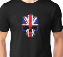 Chaotic Union Jack Flag Splatter Skull Unisex T-Shirt