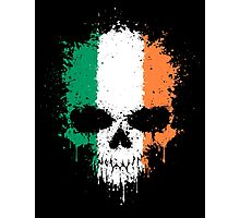 Chaotic Irish Flag Splatter Skull Photographic Print
