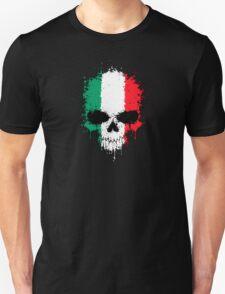 Chaotic Italian Flag Splatter Skull T-Shirt