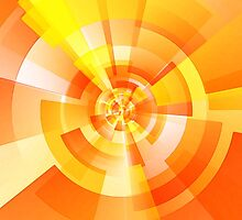 Orange and yellow swirling geometrical shapes by Penny Ward Marcus