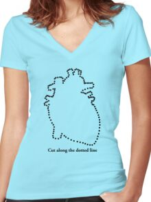 Cut out my heart Women's Fitted V-Neck T-Shirt