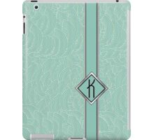 1920s Blue Deco Swing with Monogram letter K iPad Case/Skin