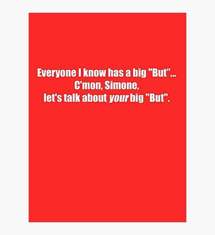 Pee-Wee Herman - C'mon Simone, Let's Talk - White Font Photographic Print