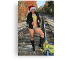 Santa Clause is coming to town, on a train. Canvas Print