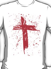 Red Grunge Cross with Red Splats T-Shirt