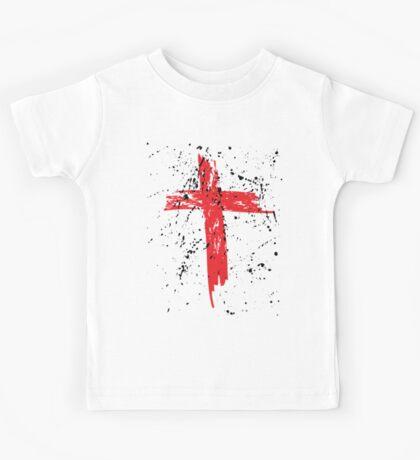 Red Grunge Cross with Black Splats Kids Tee