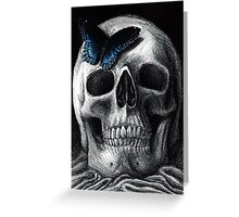 Skull with Blue Butterfly Greeting Card