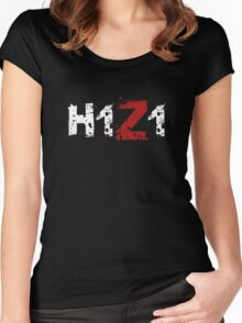 H1Z1: Title - White Ink Women's Fitted Scoop T-Shirt
