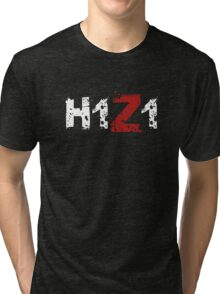 H1Z1: Title - White Ink Tri-blend T-Shirt
