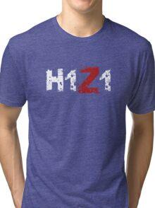 H1Z1: Title - White Ink Tri-blend T-Shirt