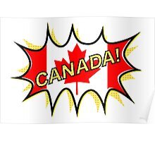 Canadian Flag Comic Style Starburst Poster