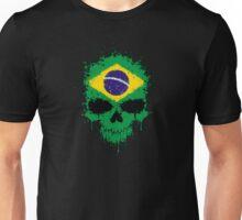 Chaotic Brazilian Flag Splatter Skull Unisex T-Shirt