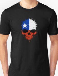 Chaotic Chilean Flag Splatter Skull Unisex T-Shirt