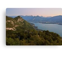A very soft dusk on Annecy lake Canvas Print